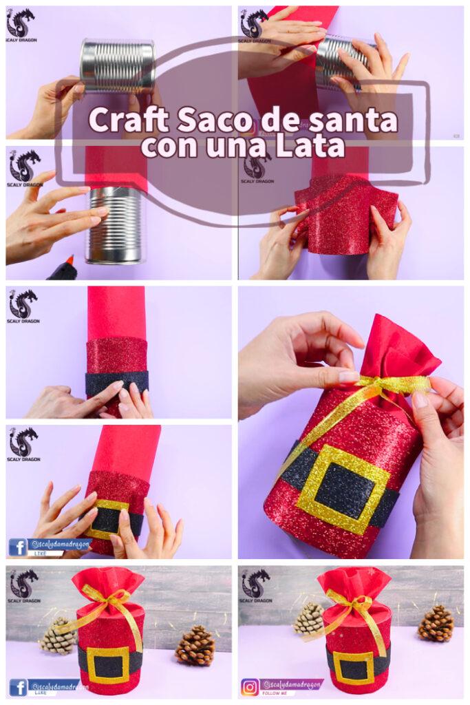 Paso a paso con fotografías la elaboración de un saco de santa con latas